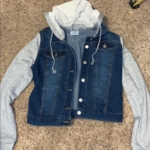 Love Tree Jean Jacket with Sweater Sleeves